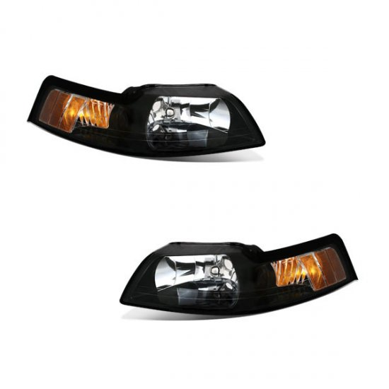 99-04 Ford Mustang, Crystal Headlights, Black