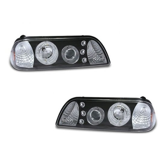 87-93 Ford Mustang, 1PC Projector Headlights, Black