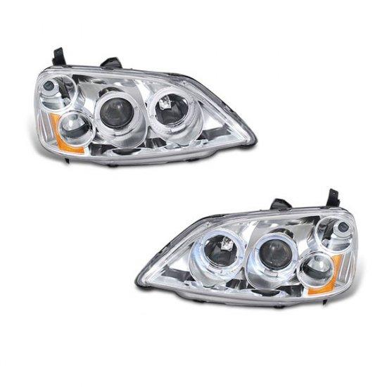 01-03 Honda Civic, Projector Headlights (Chrome)