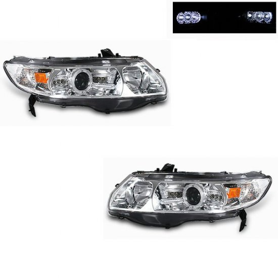 06-08 Honda Civic 2Dr, Projector Headlights, Chrome