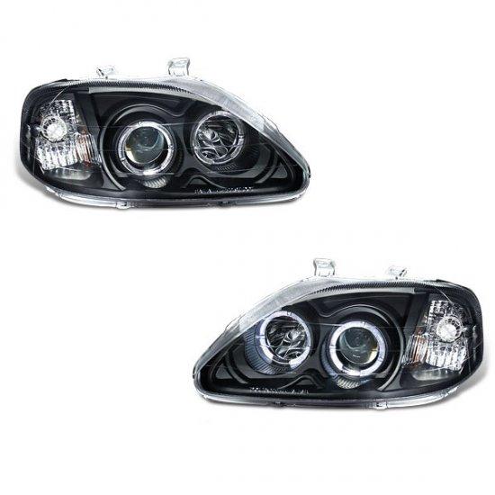 99-00 Honda Civic, Projector Headlights (Black)