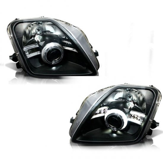 97-01 Honda Prelude, Projector Headlights CCFL (Black)