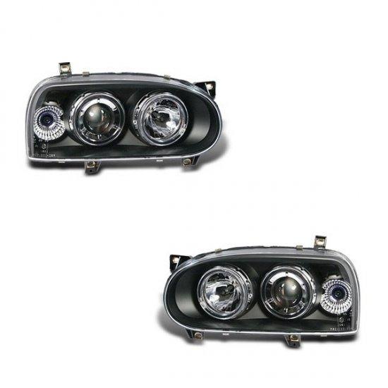 93-98 VW Golf Mk3, Projector Headlights (Black)
