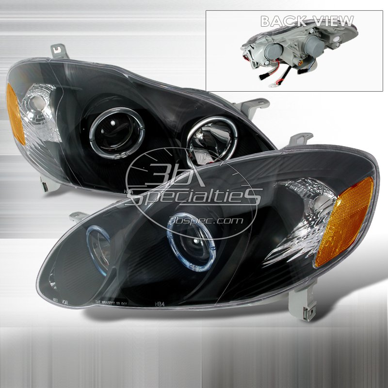 Spec-D: 03-08 Toyota Corolla, Projector Headlights, Black