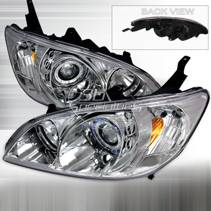 Spec-D: 04-05 Honda Civic, Projector Headlights (Chrome)