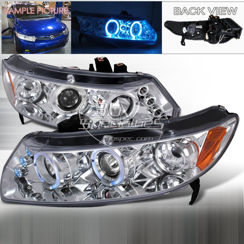 Spec-D: 06-11 Honda Civic 2Dr, Projector Headlights (Chrome)