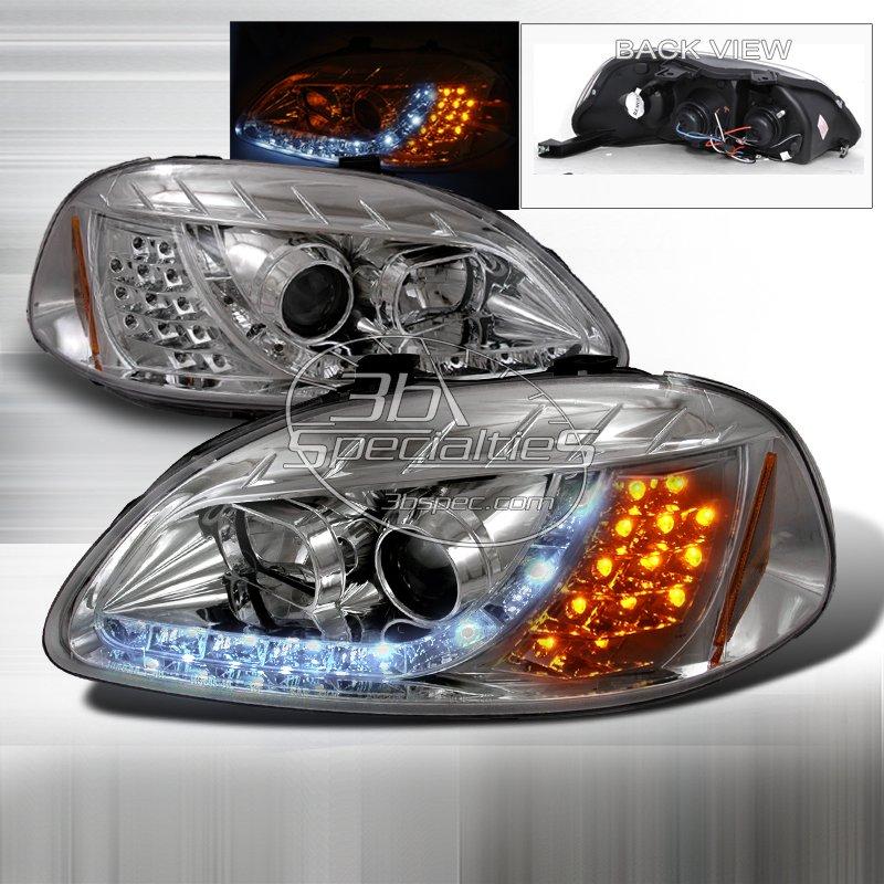 Spec-D: 96-98 Honda Civic, Projector Headlights (Chrome)