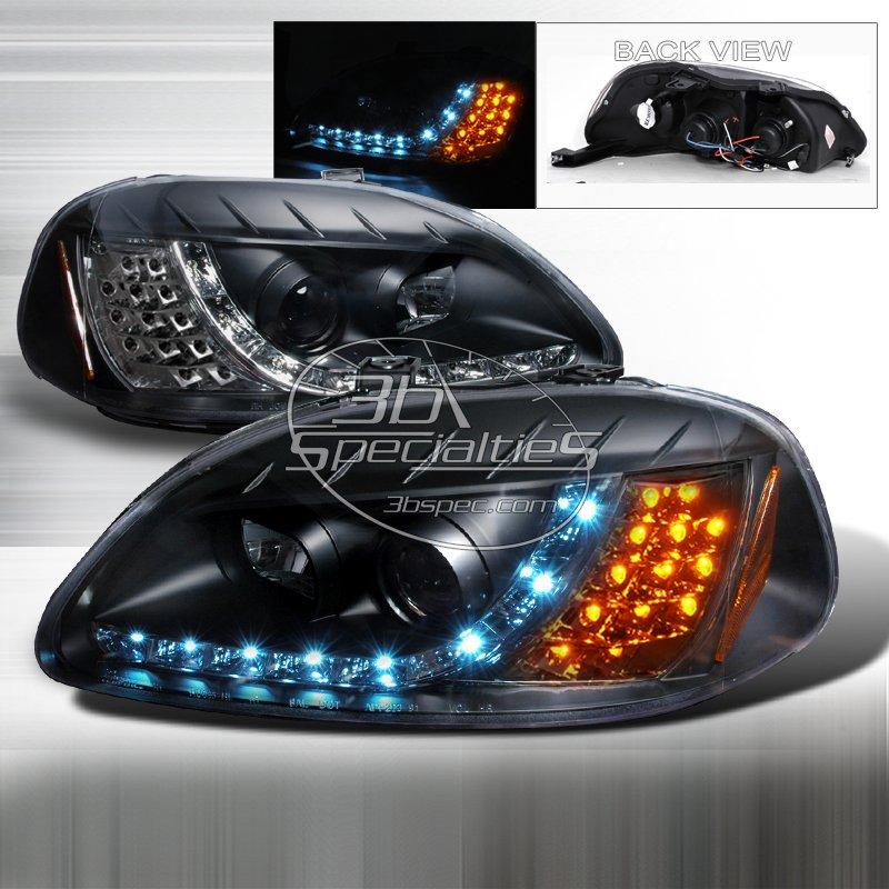 Spec-D: 96-98 Honda Civic, Projector Headlights (Black)