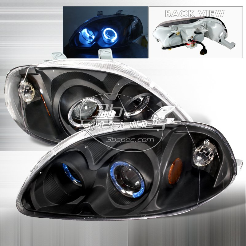 Spec-D: 96-98 Honda Civic, Projector Headlights (Black)