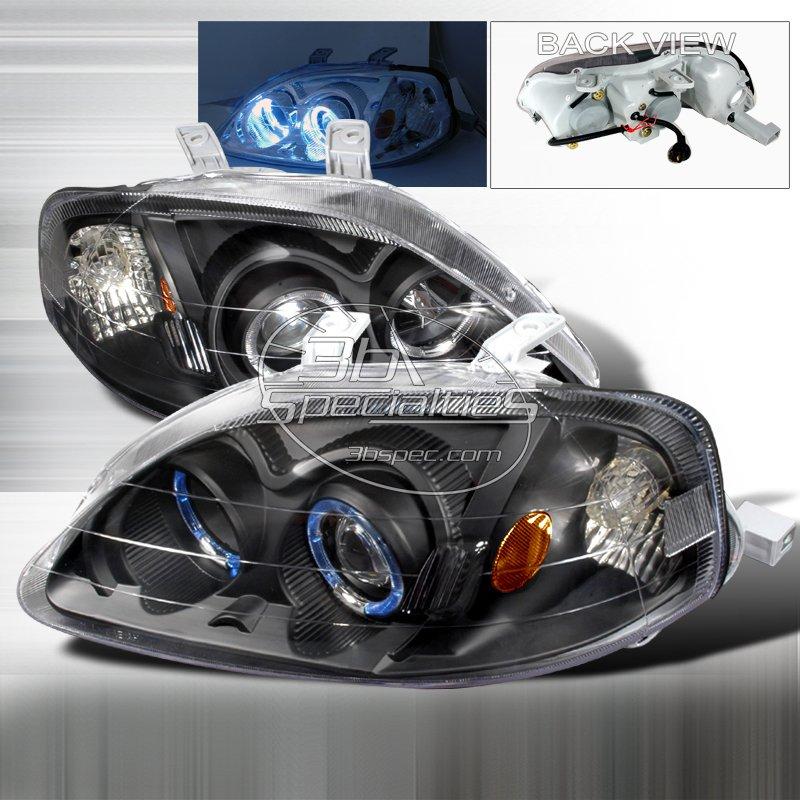 Spec-D: 99-00 Honda Civic, Projector Headlights (Black)