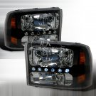 Spec-D: 99-04 Ford F250 / F350; Crystal Headlights (Black)