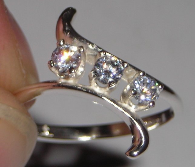 Sterling Silver Triple Stone Ring CZ