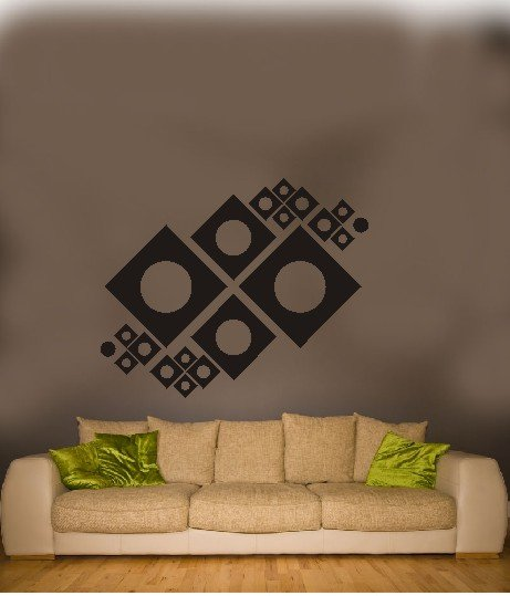"vinyl wall art mechanical squares decal (46"" x 38"")"