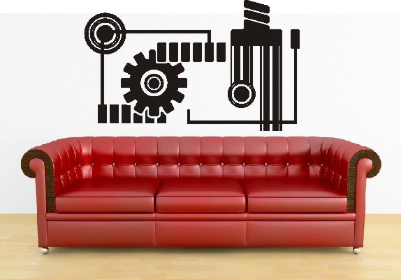"vinyl wall art mechanical urban decal (28"" x 46"")"