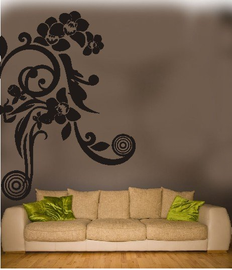 "vinyl wall art japanese floral decal (44"" x 62"")"