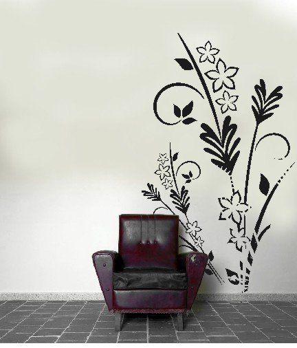 "vinyl wall art floral decal (46"" x 72"")"
