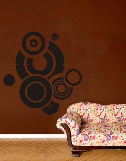 "vinyl wall art grunge circles decal (45"" x 47"")"