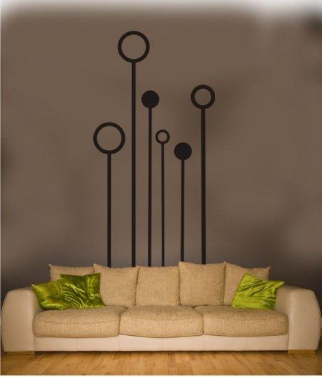 "vinyl wall art decal stemmed circles 30"" x 60"""