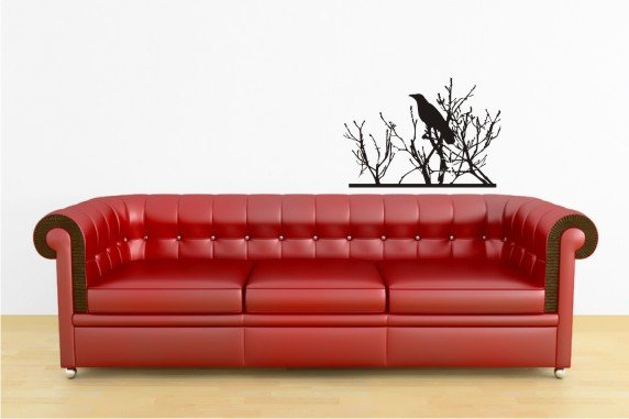 "vinyl wall art decal sticker, bird in tree (20"" x 29"")"