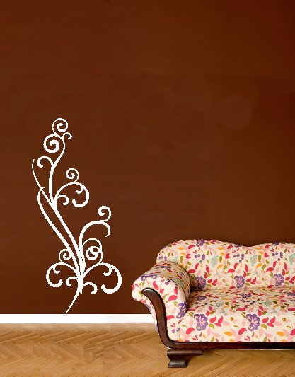 vinyl wall art swirly branch . 14inches x 30 inches