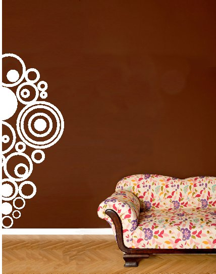 "vinyl wall decal circles on the edge 17"" x 48"""