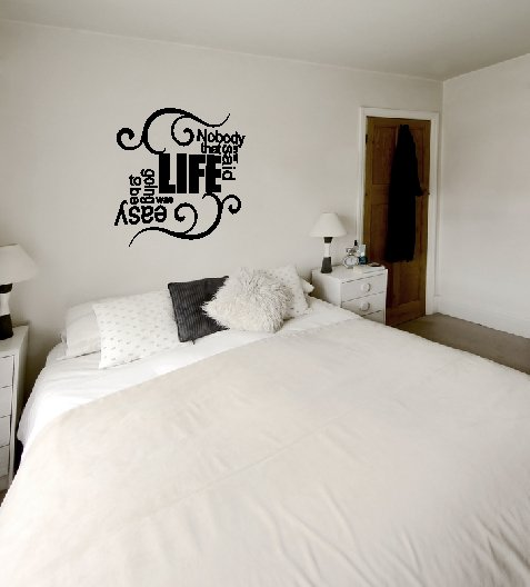 vinyl wall art decal . easy life . 22 inches x 22 inches
