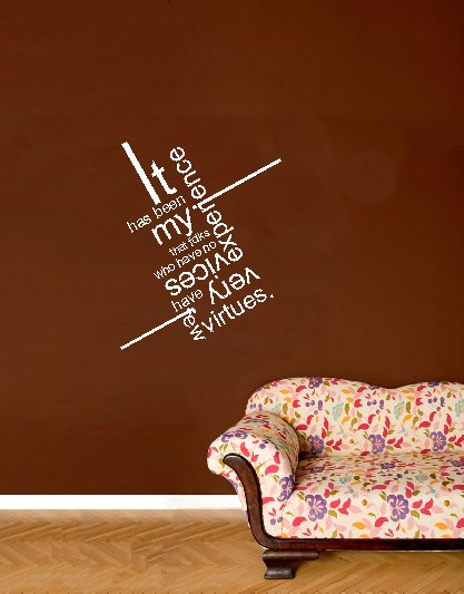 vinyl wall art decal . vices and virtues . 22 inches x 25 inches
