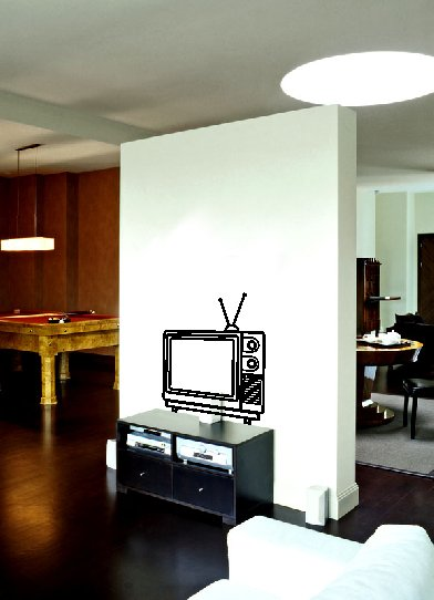 vinyl wall art decal . vintage retro television . 22 inches x 25 inches