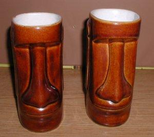 "x2 DAGA Hawaii Dark brown Tiki Mugs / EASTER ISLAND 6"""