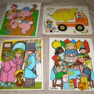x4 lot of vintage Playskool wooden frame tray puzzles Children Party +