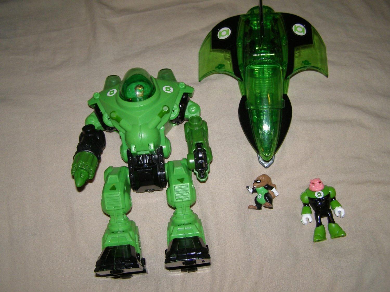 imaginext dc friends green lantern robot jet and figures