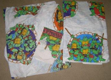 Vtg TMNT Ninja Turtles Twin Sheet set 1990 Mirage GC