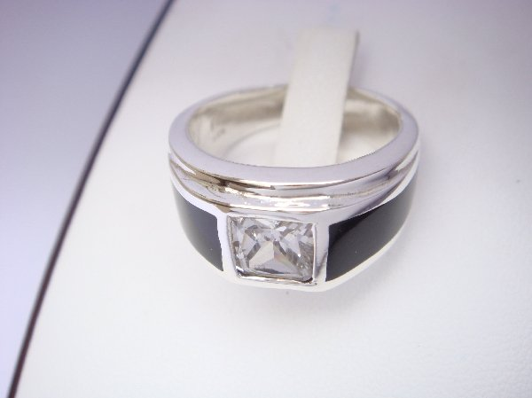 Sterling Silver Man's Ring with Square CZ Stone
