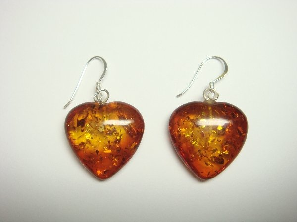 Sterling Silver Dangle Earrings Set with Heart Amber