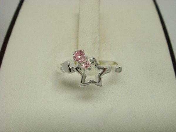 925 Sterling Silver Star Toe Ring Pink CZ