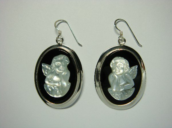 Sterling Silver Dangle Oval Earrings Mother of Pearl Angel