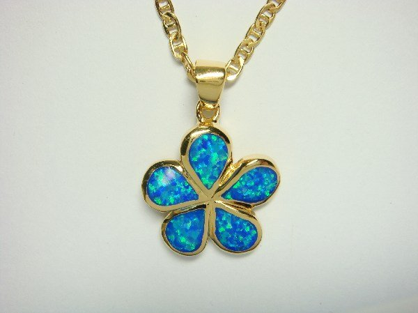 18K Gold Vermeil Pendant Necklace Blue Opal Plumeria