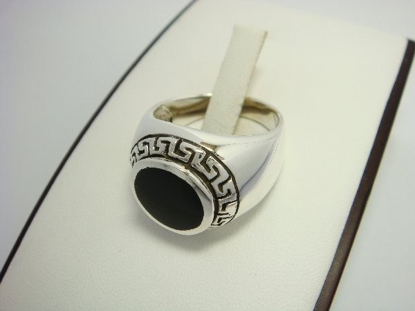 925 Sterling Silver Men's Round Onyx Greek Key Ring