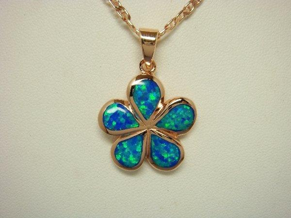 18K Rose Gold Vermeil Pendant Hawaiian Blue Opal Plumeria