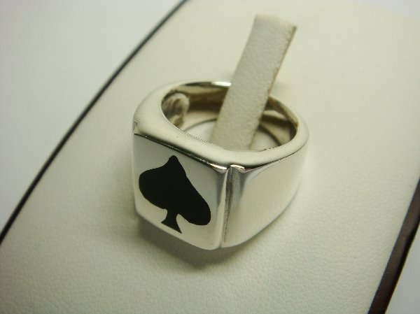 Sterling Silver Man's Black Spade Poker Card Game Ring