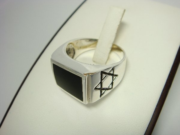 Sterling Silver Man's Rectangle Onyx Star of David Ring