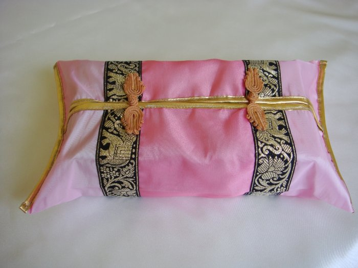 Thai Silk Pink Gold Elephant Flower Embroidery Tissue Box Cover