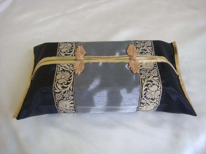 Thai Silk Black Gray Gold Elephant Flower Embroidery Tissue Box Cover