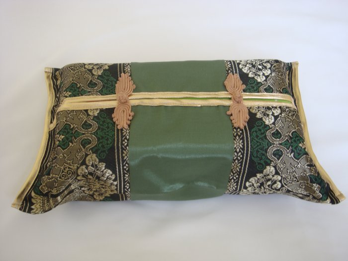 Thai Silk Green Gold Elephant Tree Embroidery Tissue Box Cover