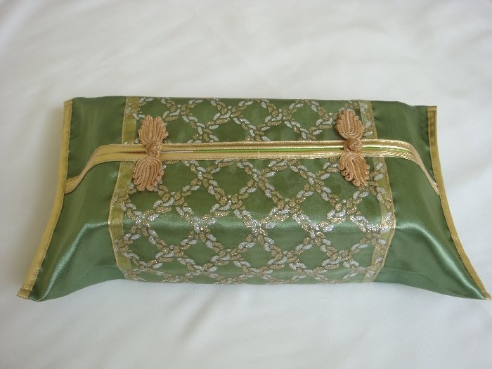Thai Silk Green Gold Classy Checkered Embroidery Tissue Box Cover