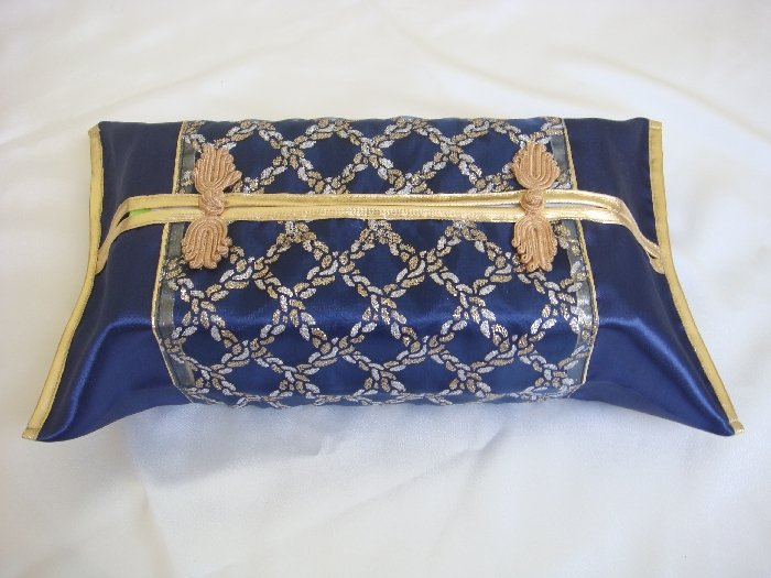 Thai Silk Blue Gold Classy Checkered Embroidery Tissue Box Cover