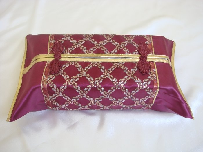 Thai Silk Burgundy Gold Classy Checkered Embroidery Tissue Box Cover