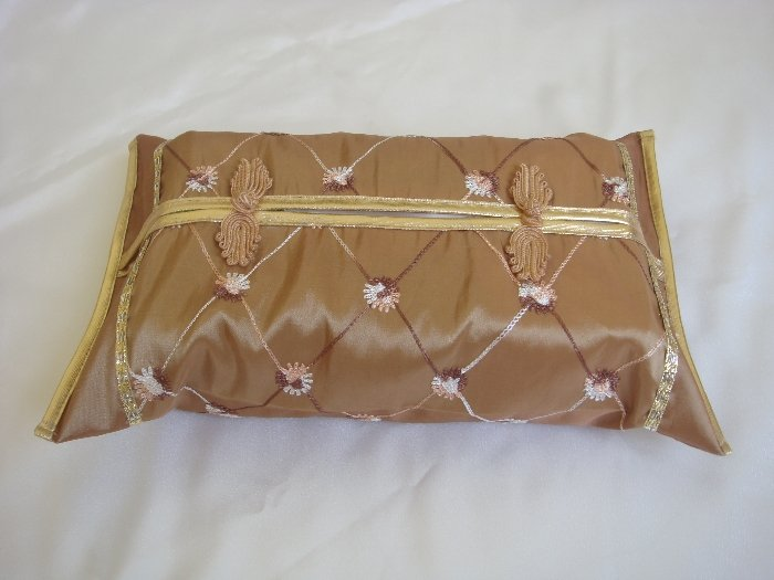 Thai Silk Brown Gold Classy Checkered Embroidery Tissue Box Cover