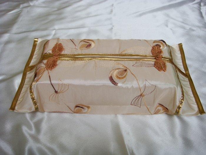 Thai Silk Cream Gold Elegance Design Embroidery Tissue Box Cover