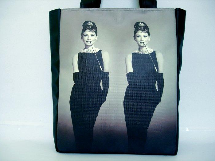 Audrey Hepburn Retro Mirror Classic Tote Shoulder Bag Purse M